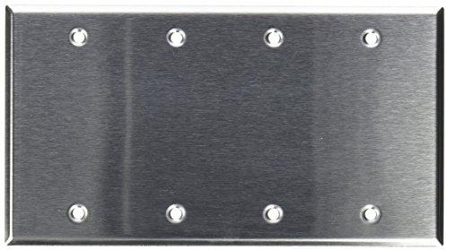 (Morris 83340 430 Wall Plate, Blank, 4 Gang, Stainless Steel)