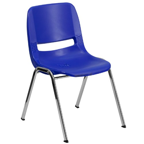 Flash Furniture HERCULES Series 880 lb. Capacity Navy Ergonomic Shell Stack Chair with Chrome Frame and 18'' Seat - Stack Shell Chair