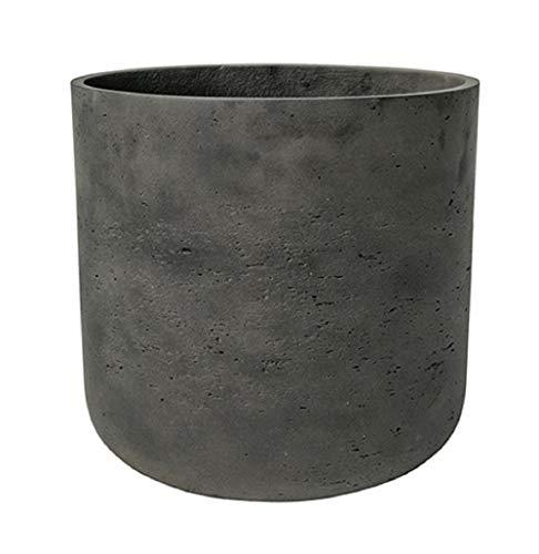 Black Washed Round Bottom Planter - Fiberstone indoor and outdoor Flower Pot 13