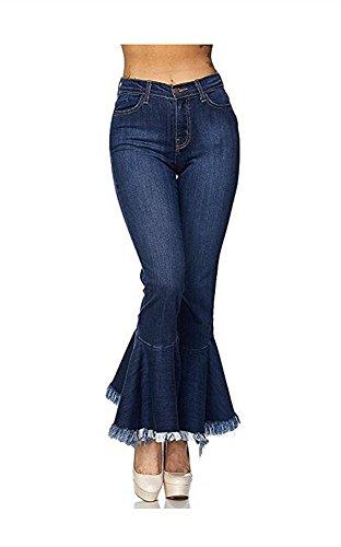 Women's Fashion Bell Bottom Pants High Waist Tassel Stretch Curvy Fit Jeans Blue US 10-12 by Tengfu