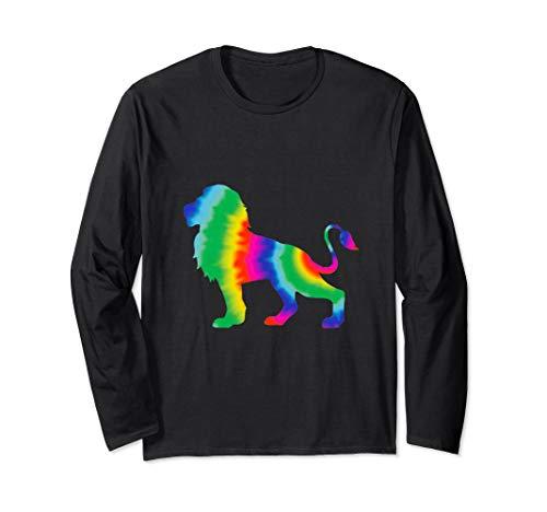 (Cool Tie Dye Lion Jungle Animal Long Sleeve T-Shirt)
