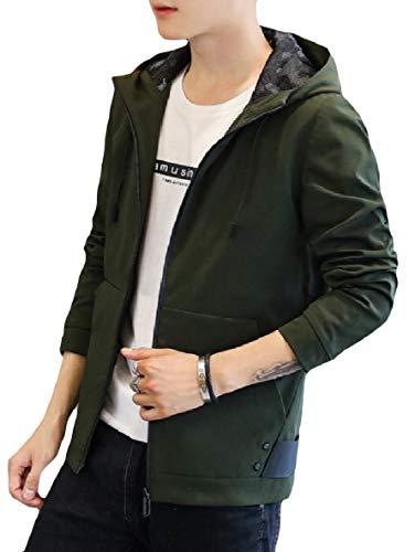 Soggiorno size Xinheo Plus Outwear Cofano Tasche Manica Zip Uomini Lungo Verde Militare nX6U8pp