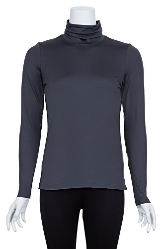 A'Nue Miami Women's Classic Turtleneck, Long Sleeve Basic Shirt, Medium, - Falls The Miami