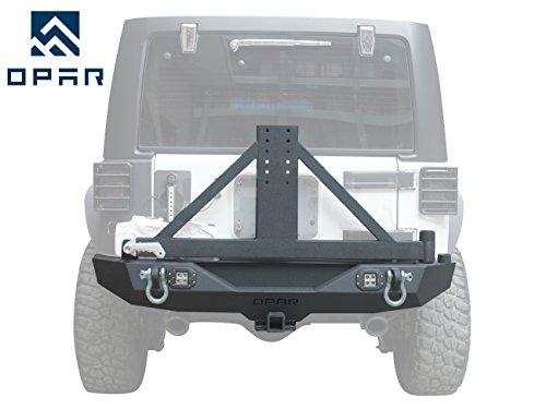Opar 2007-2018 Jeep Wrangler Different Trail Rear Bumper w/ Tire Carrier & 2x 18W LED Accent Lights for JK & Wrangler Unlimited