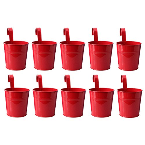 Hanging Flower Pot, Peleustech 10PCS Metal Art Bucket Planters Flower Holders for Garden Railings, Patio Fence, Balcony - Red