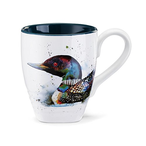 DEMDACO Loon Watercolor Black On White 16 Ounce Glossy Stoneware Mug With Handle ()