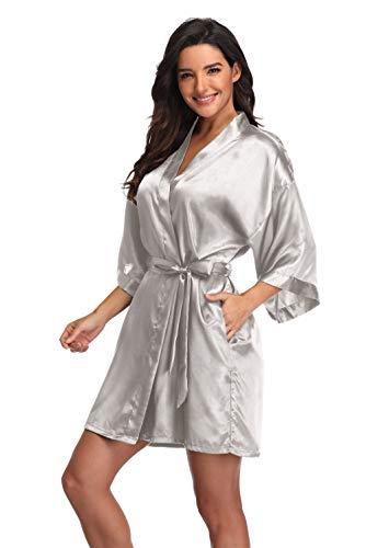 Women's Plus Size Bathrobes Satin Robes,Short Silver (Womens Satin Robes Short)