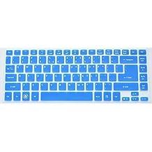 Bodu Silicone Keyboard Cover Protector Skin for Acer Timeline 4830T 3830T Aspire 4755G E14 E1-410G E1-422G E1-432G E1-472G E5-411 E5-471G M3-481G M5-481G R7-571G R7-572G V3-471G V5-471G(Blue)