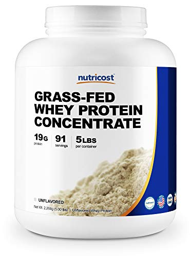 Nutricost Grass-Fed Whey Protein Concentrate (Unflavored) 5LBS - Undenatured, Non-GMO, Gluten Free, Natural Flavors
