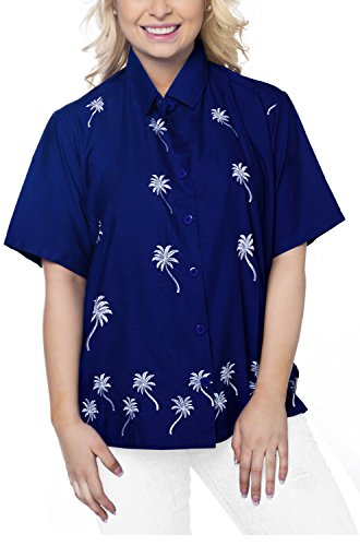 La Leela Smooth Rayon Vacation Short Sleeves Sales Blouses Female Outfits Boho Festival Resort Tank Embroidered Floral Cotton Flower R_Blue S