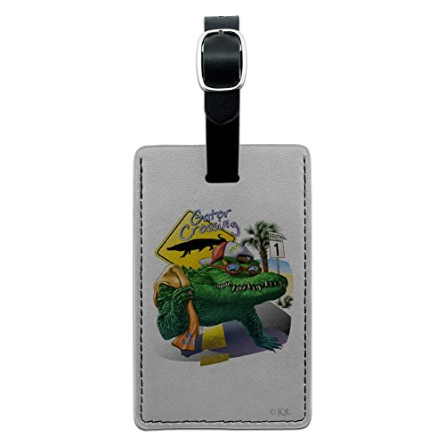 Alligator Gator Crossing Sunglasses Vacation Rectangle Leather Luggage Card Suitcase Carry-On ID Tag