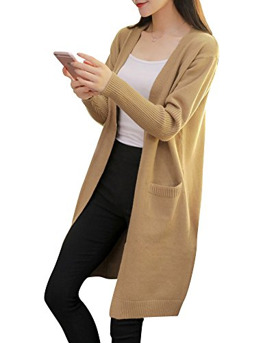 Gilet Femmes Front Outwear Chandail Manches Cardigan Poches Kaki Open Manteau Longues Tricot nHCq7YHw