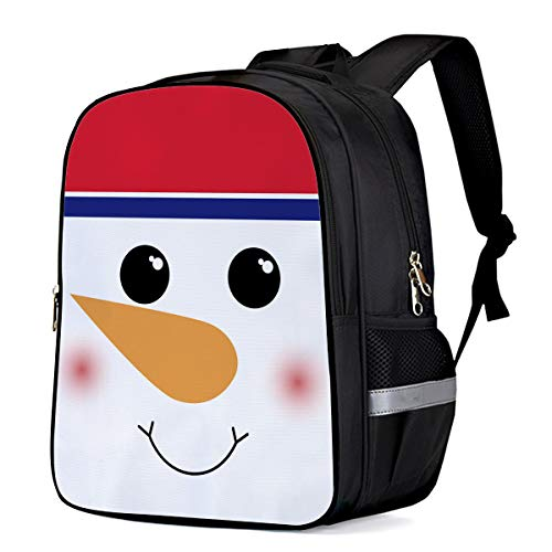 Water Resistant School Backpack, Christmas Cute Snowman Face Smile Oxford 3D Print College Student Rucksack Daypack for School Camping Travel 41x30x17cm]()