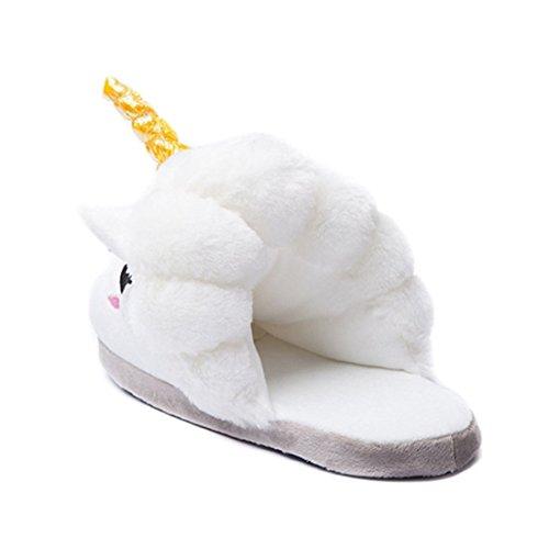 Kenmont Zapatillas de estar por casa de felpa Unicornio para adulto White