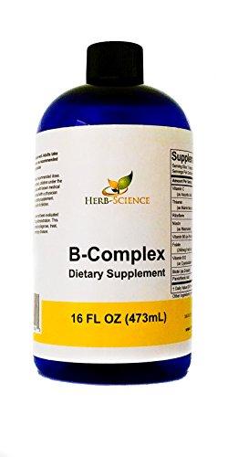 Vitamin B-Complex,Super B Complex Vitamins with Vitamin C Liquid, 16 oz – All B Vitamins Including B1, B2, B3, B5, B6, B7, B9, B12, Folic Acid, Niacin, Biotin, Alcohol-Free – Herb-Science