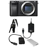 Sony Alpha a6300 Mirrorless Digital Camera Body, Black - Bundle with Case Relay Camera Power System, Case Relay Camera Coupler, Tether 10000mAh External Battery Pack, StrapMoore for Laptop Power