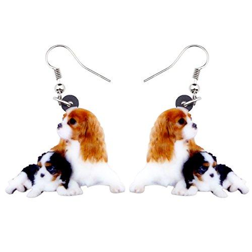 NEWEI Acrylic Drop Dangle Cavalier King Charles Spaniel Dog Earrings Fashion Jewelry For Girl Women Gift -