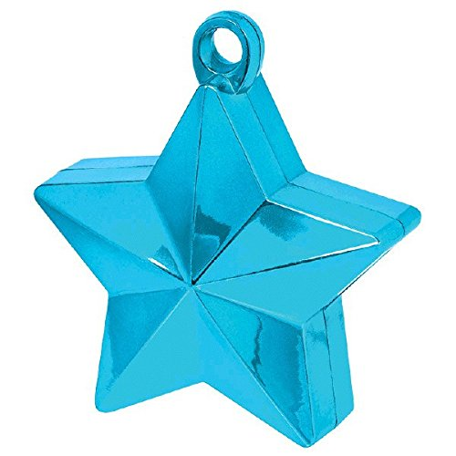 Caribbean 6 Piece - Twinkle Star Balloon Weight Party Decoration, 1 Piece, Made from Plastic Foil, Caribbean Blue, 6 oz. by Amscan