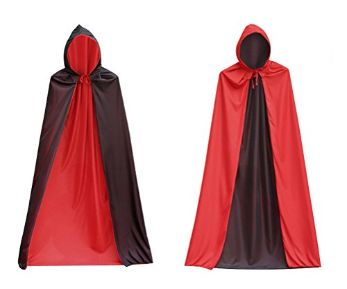 Halloween Costumes Hooded Capes Cloak ,Double Face Red Black Hooded Cloak