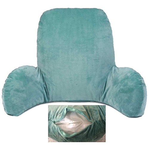 Lumbar Support Back Pillow, Backrest Cushion Back Support Pillow with Arms for Couch,Sofas,Lounge,Recliner - with Zipper Removable Covers Washable-Hmlike(Blue)