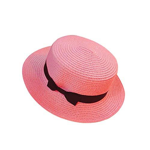 Womens Mini Wide Brim Straw Panama Boater Hat Fine Braid Fedora Summer Beach Flat Top Ribbon Uv Protection Sun Hat for Ladies Outdoor Travel (Pink)