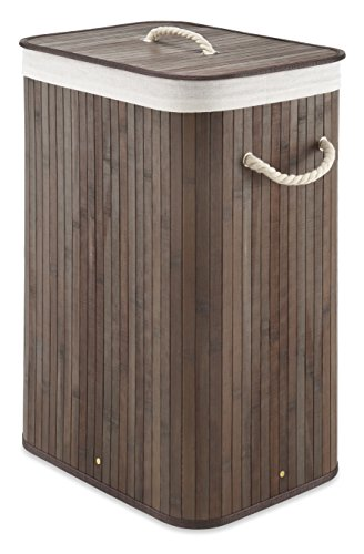 Whitmor Laundry Hamper with Rope Handles Bamboo, 12.25x16.25x23.375, Dark Stain - bamboo in a Dark stained finish Rectangular shape with removable liner Rope handles to help in transport - laundry-room, hampers-baskets, entryway-laundry-room - 41oBGDaSszL -