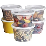 [48 Sets] 16 oz. Plastic Deli Food Containers with Airtight Lids