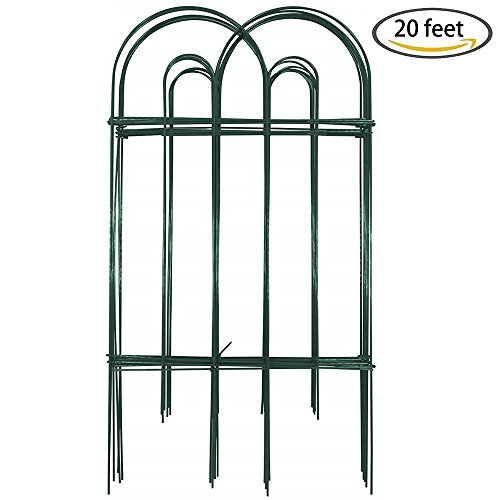 Amagabeli Decorative Garden Fence 32 in x 20 ft Rustproof Green Iron Landscape Wire Folding Fencing Ornamental Panel Border Edge Section Edging Patio Fences Flower Bed Animal Barrier for Dog Outdoor (Landscape Borders Fencing)