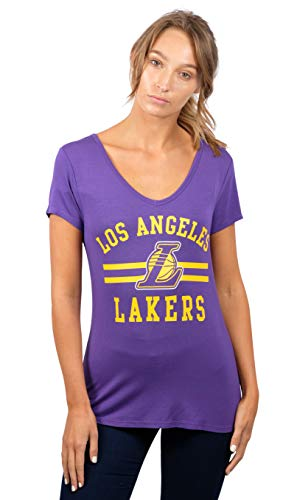 - UNK NBA Women's T V-Neck Relaxed Short Sleeve Tee Shirt, Team Color, Purple, X-Large