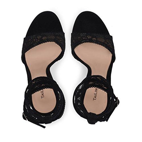 black Bombas 40 eu36 Hebilla Sexy Alto Del De Eu34 Princesa Fiesta La Encaje Señoras Boda Reina Estilete Sandalias Zapatos Talón Oficina Tacón nqORRf