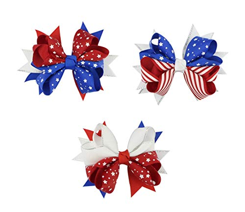 Astra Gourmet Patriotic Grosgrain Hair Bow Clips, 3 Pack Baby Girls American Flag Hair Bow Hair Clips, Kids Hairpins for Independence Day 4th of July National Day for $<!--$9.99-->