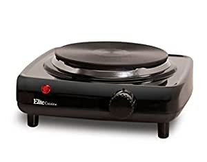 Elite Cuisine ESB-301BF Maxi-Matic 1000 Watt Single Buffet Burner Electric Hot Plate, Black