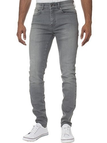 KRUZE Herren Designer Freizeit Markiert Jeans Dehnbar Super Enge Jeans Hose - Herren, grau, 38W x 32L