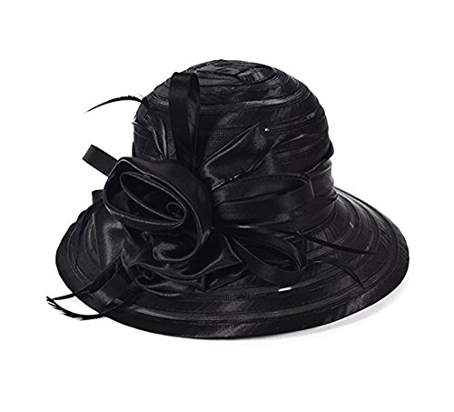 ICSTH WOMEN'S Oganza Sun Hat Cloche Oaks Church Dress Bowler Derby Wedding Hat Party