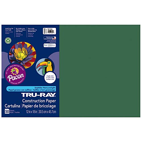 Pacon Tru-Ray Construction Paper, 12-Inches by 18-Inches, 50-Count, Dark Green (103053) - Paper 12x18 Green 50 Sheet