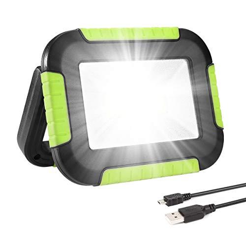LE Luz de Trabajo Portátil 10W, Foco LED 1000 Lúmen USB Recargable, 3 Modos, Banco de Energía 4400 mAh, Resistente al…