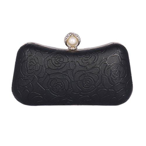 Womens Dating Damara Party Box Rose Case Black Clutch Pattern Hard 11qtI