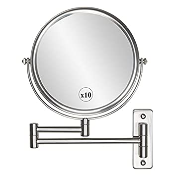 Charmant Wall Mounted Makeup Mirror   10x Magnification 8u0027u0027 Two Sided Swivel Extendable  Bathroom