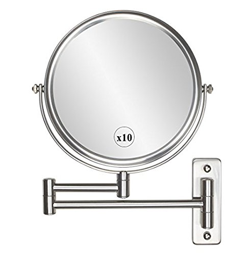 Wall Mounted Makeup Mirror - 10x Magnification 8'' Two-Sided Swivel Extendable Bathroom Mirror Nickel Finish (Swivel Bathroom Mirrors)