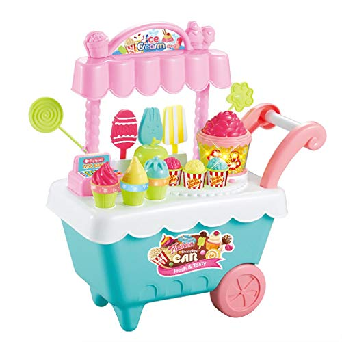 (AMOFINY Baby Toys Ice Cream Shopping Car Large Ice Cream Snack Trolley Play House Toy New Kids Toys Simulation Mini Candy Ice Cream Trolley Shop Pretend Play Set)