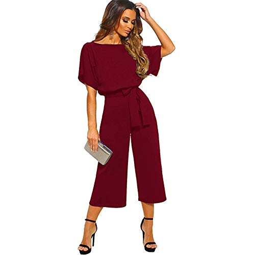 - ALAIX Women's Elegant Jumpsuit High Waist Crewneck Overall Short Sleeve Wide Leg Romper Midilength Playsuits with Belts WineRed-XL