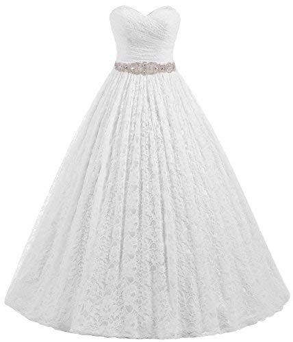 Beautyprom Women's Sweetheart Ball Gown Lace Bridal Wedding Dresses (US12, Ivory)
