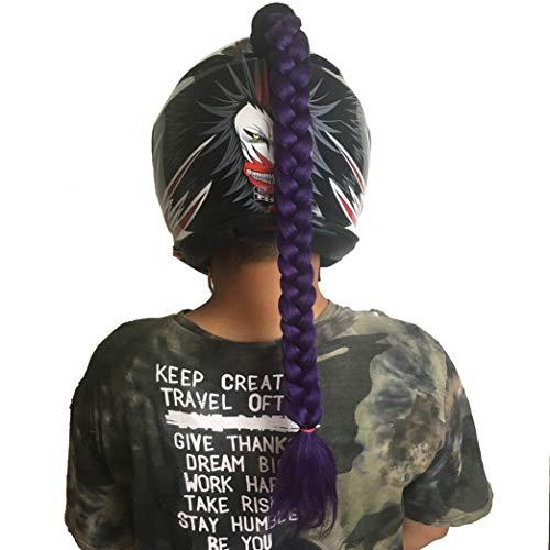 (DOSEEI Helmet Pigtails/Helmet Ponytail Motorcycle Bike Helmet Braids Helmet Hair Helmet Wigs Decoration 1 pcs (Purple))