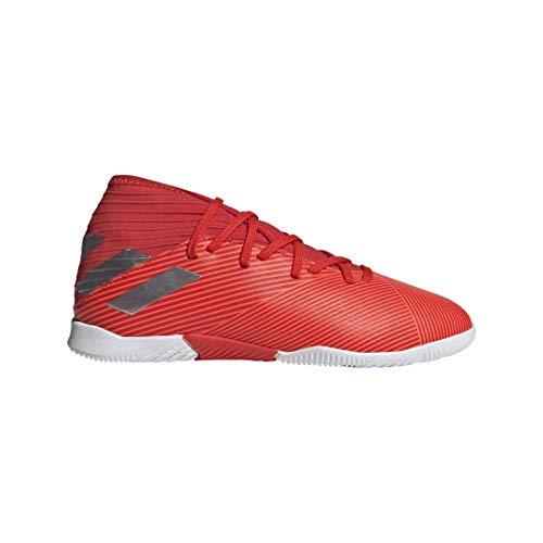 adidas Unisex Nemeziz 19.3 Indoor Soccer Shoe, Active Silver Metallic/Solar Red, 4 M US Big Kid