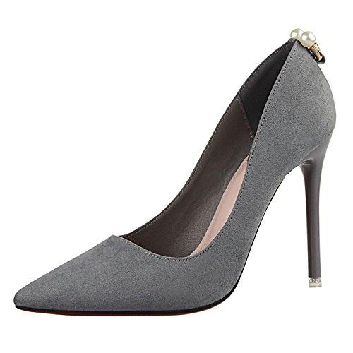YMFIE Arbeitsschuhe Feine Temperament Spitze Elegante Mode Sexy Party Bankett High High Bankett Heel Schuhe Damen. gray f453f0