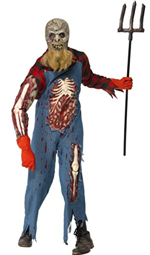 Mens Zombie Hillbilly Farmer Scarecrow Halloween Fancy Dress Costume Outfit M-L (Medium) -