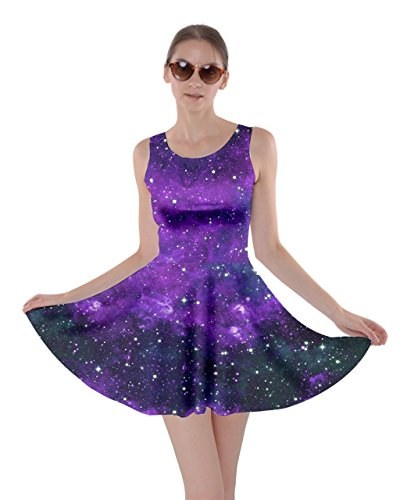 (CowCow Womens Purple Space Skater Dress, Purple -)