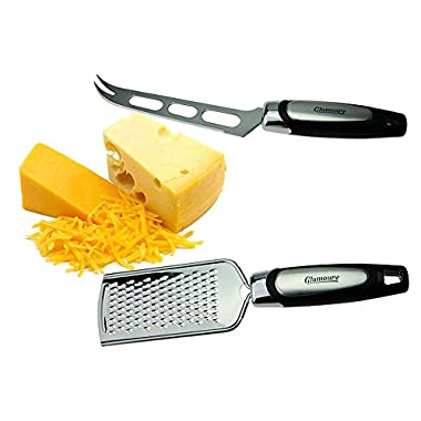 Cheese Grater & Knife Set - Ginger, Vegetable, Fruit and Food Grater & Knife - Cheese Slicer - Zester