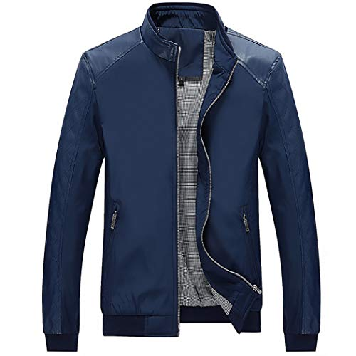 WULFUL Men's Bomber Jacket Casual Stand Collar Slim Fit Leather Sleeve Jackets