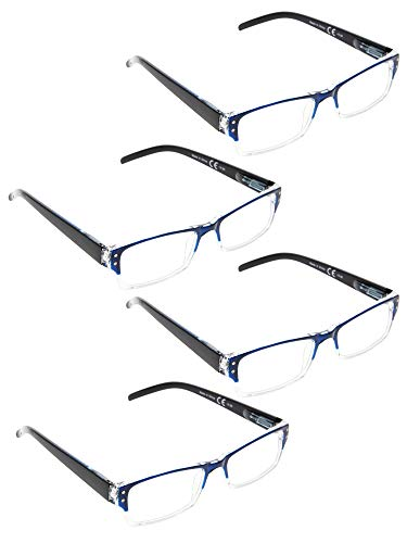 READING GLASSES 4 pack Two-color frame Readers (BlueClear, 2.50)